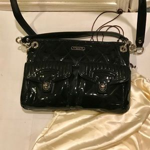Coach Liquid Gloss Quilted Patent Leather Bag New